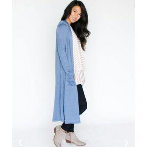Duster Lightweight Knit Demin Blue XS/S Pockets
